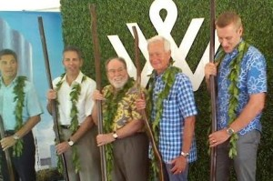 From left, David Striph, senior vice president of Hawaii, the Howard Hughes Corp.; David Weinreb, president and CEO, the Howard Hughes Corp.; Gov. Neil Abercrombie; Mayor Kirk Caldwell; and Nick Vanderboom, senior vice president of development, the Howard Hughes Corp., at the groundbreaking for the Waiea condominium at the Ward Village master-planned community in Honolulu.
